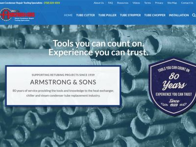 Armstrong and Sons condenser boiler tube removal tools